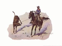 "Cowboy Leading Calf by Frederic Remington - 16"" x 12"""
