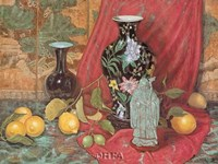 Lemons with Black Vase Fine Art Print