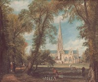 "Salisbury Cathedral from the Bishops' Grounds by John Constable - 22"" x 19"""