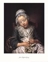 "Young Knitter Asleep by Jean-Baptiste Greuze - 17"" x 22"""