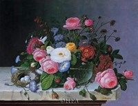 "Still Life with Flowers and Bird Nest by Severin Roesen - 20"" x 16"""