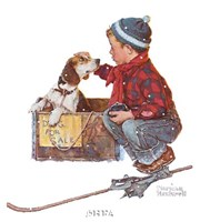 A Boy Meets His Dog Fine Art Print