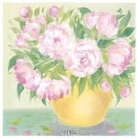Yellow Vase Peonies I Fine Art Print