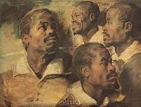 Four Negro Heads Fine Art Print