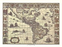 Map of North and South America Fine Art Print