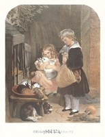 "Children and Rabbits by Sir Edwin Henry Landseer - 22"" x 32"""