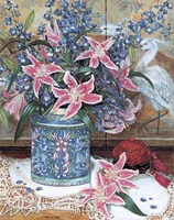 "Pink Tiger Lilies with Cinnabar by Francie Botke - 19"" x 25"""