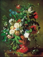 "Flowers in an Urn by Jan Van Huysum - 21"" x 28"""