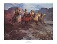"""Riders of the Dawn by Frank Tenney Johnson - 28"""" x 22"""", FulcrumGallery.com brand"""