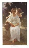 "Whisperings of Love, 1889 by William Adolphe Bouguereau, 1889 - 16"" x 27"""