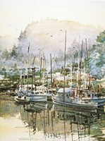"Boats Near Mendocino by LaVere Hutchings - 20"" x 27"""