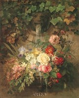 """Flowers Under a Lion Fountain by Peggy Olsen - 22"""" x 28"""""""