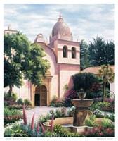 """Carmel Mission Fountain by Barbara Felisky - 22"""" x 27"""""""