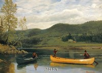 "Men in Two Canoes by Albert Bierstadt - 29"" x 21"""