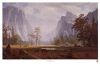 """Looking Up The Yosemite Valley by Albert Bierstadt - 38"""" x 25"""""""