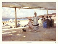 "Figures on a Veranda by the Beach by Paul-Michel Dupuy - 29"" x 22"""