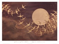 Cranes Over Moon Fine Art Print