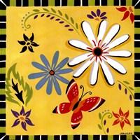 Daisies And Butterflies-Yellow Fine Art Print