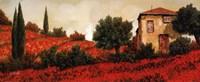 """l Papaveri Sulle Colline by Guido Borelli - 20"""" x 8"""""""