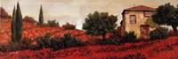 """l Papaveri Sulle Colline by Guido Borelli - 36"""" x 12"""""""