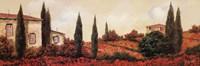 """Tre Casa Tra l Papaveri by Guido Borelli - 36"""" x 12"""""""