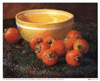 Yellow Bowl With Persimmons Fine Art Print