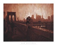 Les Amoureux de Brooklyn Bridge Fine Art Print