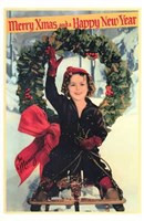 Shirley Temple Christmas Greeting Framed Print