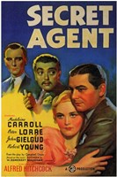 "Secret Agent - Alfred Hitchcock - 11"" x 17"""