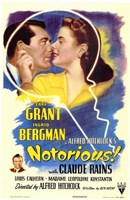 Notorious Bergman and Grant with Claude Rains Wall Poster