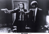 Pulp Fiction Shooting Black and White Framed Print