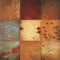 Poppy Nine Patch Framed Print
