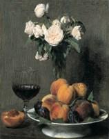Roses Fruits Et Verre De Vin Fine Art Print