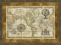 Antique World Map Fine Art Print