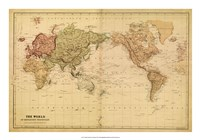 Map of the World, c.1800's (mercator projection) Fine Art Print