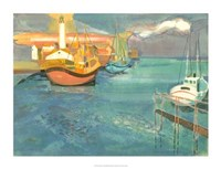 Boats in Harbor I Giclee