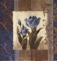 "Blue Tulip Scroll by Viv Bowles - 9"" x 9"", FulcrumGallery.com brand"