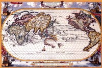 "Map of the World, Indian and Pacific Navigation - Antique - 36"" x 24"""