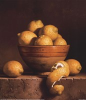 Lemons in a Bowl with Peel Fine Art Print