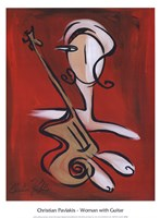 "Woman with Guitar by Christian Pavlakis - 12"" x 16"""