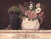 Floral W-Black Bucket Framed Print
