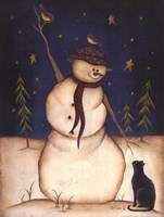 Snowmen with Black Cat Fine Art Print