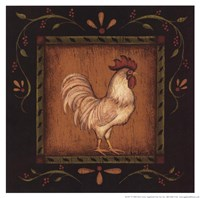 """White Rooster I by Kim Lewis - 8"""" x 8"""""""