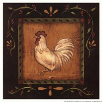 """White Rooster II by Kim Lewis - 8"""" x 8"""""""