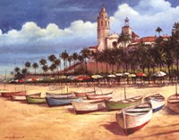 """Boats on the Shore by T.C. Chiu - 28"""" x 22"""""""