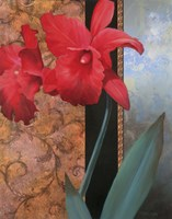 """Red Orchid/Teal Damasque by T.C. Chiu - 22"""" x 28"""""""