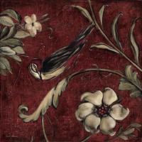 "Crimson Songbird # 3 by Laurel Lehman - 16"" x 16"""