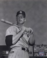 Mickey Mantle- With bat looking towards his right Framed Print