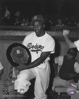 Jackie Robinson - black and white baseball Fine Art Print