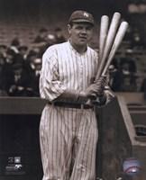 Babe Ruth - with 3 bats Fine Art Print